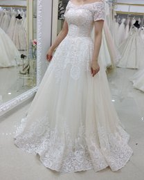 White Wedding Gowns Australia - Fashion White A Line Lace Wedding Dresses With Short Sleeve Beaded Off The Shoulder Floor Length Wedding Gowns Bridal Dresses Custom Made