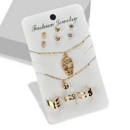 $enCountryForm.capitalKeyWord UK - Punk Style Hollow Skull Pendant Choker Necklace Jewelry Sets Gold Color Stud Earrings Charm Bracelet Bangles Finger Rings Set