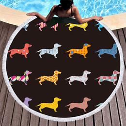 $enCountryForm.capitalKeyWord NZ - 1 Pcs Dachshund Sausage Tassel Tapestry Round Beach Towel Cartoon Dog Pet Microfiber Toalla Picnic Blanket Yoga Mat