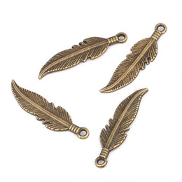Feather jewelry diy online shopping - 50PCS x7mm Alloy Simple Vintage Silver Bronze Color Leaf Feather Charms for Jewelry DIY Making Accessories Findings