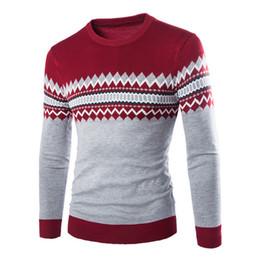 fe634ba2950a7 2017 Мужская вязаный свитер узоры полосатый толстый пуловер свитера зима  повседневная шею шерстяной свитер мужчины