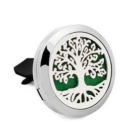 silver diffuser locket Australia - Tree of life cross Essential Oil Car Diffuser Locket Vent Clip 316 L Stainless Steel Perfume locket Magnetic Randomly 10pc Oil Pads as Gift