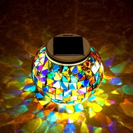 Wholesale LED Solar Outdoor Waterproof Solar Mosaic Glass Ball Table Light Color Changing Solar Powered Lamps Decorative LED Night Lights