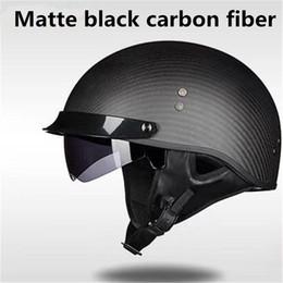 $enCountryForm.capitalKeyWord NZ - Free shipping Genuine Carbon Fiber DOT Half Helmet with Sun Lens and Metal Quick Release - mate Carbon M L XL
