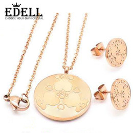 Bear Earrings Pendant NZ - EDELL Steel Charm Rose Gold Color Cute Three Baby Bears and Footprints Round Large Earring Pendant Necklace Set Original Women