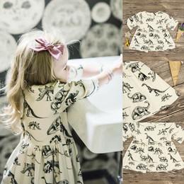 Dinosaur shorts online shopping - Baby girls dinosaur dress Children dinosaur print princess dresses new summer kids Boutique clothing C3507