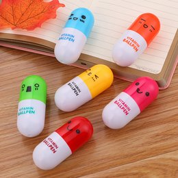 Plastic ballPoints Pens online shopping - Lovely Kawaii Pill Shape Retractable Ballpoint Pen Cute Learning Stationery Student Prize Vitamin Pill Novelty Ball Pen Free DHL