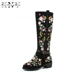chinese boots Canada - XiuNingYan Women's Boots Autumn Winter 2018 Knee-High Boots Cow Suede Fashion Embroidery Special Chinese Style Plush Size 34-46