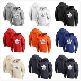 Discount camp wear - Men's Toronto Maple Leafs Fanatics Branded Black Ash White Red Orange embroidery Primary Logo Pullover Hoodies long