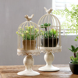 Discount white metal lanterns wholesale - White Wedding Iron Birdcage Candle Holders Novety Item Retro Candle Holders Creative Candle Stick Home Decoration