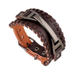 Vente en gros Hommes Bracelet Charme Vintage Bracelets En Cuir Large Gothique Punk Personnalité À La Main Tissage Unisexe Bracelet Bracelet Déclaration Bijoux