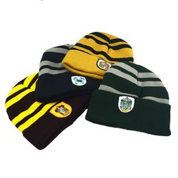 School Beanies UK - Harry Potter Beanie Hat Gryffindor Slytherin Ravenclaw Hufflepuff Knitted Hats School Badge Striped Skull Caps Cosplay Costume Cap Hat Gifts