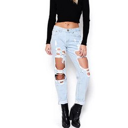 Torn Trousers Canada - New Woman Vintage Torn Jeans Casual Washed Holes Ripped Denim Jeans Trousers Female Pant Boyfriend hole ripped women