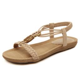 7c4a9a9d760275 Large size sandals women s 2018 summer new simple flat shoes women bohemian  sandals solid color elastic Roman sandals