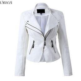 $enCountryForm.capitalKeyWord Canada - LXUNYI White Black PU leather Motorcycle jacket Women 2017 Autumn Short Slim Zipper Coat Plus Size Ladies leather jackets Faux