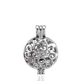 $enCountryForm.capitalKeyWord Canada - 10pcs lot Silver Alloy Flat Round Vine Beauty Oysters Beads Cage Locket Pendant Aromatherapy Perfume Essential Oils Diffuser