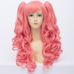 Long Hair Wave Style Australia - Lolita Style Long Synthetic Pink Wavy Capless Towheaded Curly Cosplay Wig Hair