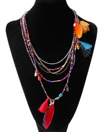 Ethnic Bohemian Feather Pendant Necklace for Women Multilayer Beads Chain Maxi Collier Spring Summer Travel Women Jewelry from hot dresses for kids suppliers