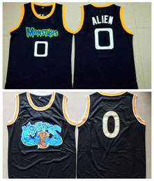 Mens Tune Squad Space Jam Moive Jerseys ALIEN  0 MONSTARS BASKETBALL JERSEY  Cheap Black Stitched Shirts S-XXL 729a128c8