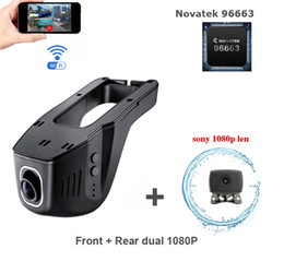 video camera full hd lens NZ - hidden type Wifi Car DVR dual Cameras for Front and Rear Dual Full HD 1080P Dash Cam dual lens cameras Car Video Recorder Novatek 96663