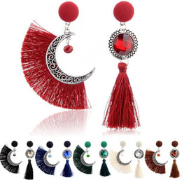 Accessories ruby stone online shopping - Moon and sun Crystal Tassel Earrings Female Party Gift Bohemian Precious Stone Alloy Drop Earrings for Women Jewelry Accessories