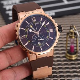 Mens Watches Brown Strap NZ - Wholesale classic luxury brand 45mm big dial brown rubber strap mens watches top quality chronograph quartz male wristwatches