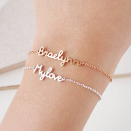 Name Plate Jewelry Sets Canada - Personalized Custom Name Bracelet Charms Handmade Women Kids Jewelry Engraved Handwriting Signature Love Message Customized Gift