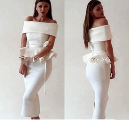 ClassiC tea length dresses online shopping - Elegant Arabic Women Off Shoulder Homecoming Dresses Mermaid Dresses Prom Dress Tea Length Slit Evening Party Dresses