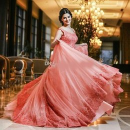 $enCountryForm.capitalKeyWord NZ - Coral Pink Ball Gown Quinceanera Dresses Scoop Cap Sleeves Lace Appliques Tulle Plus Size Watermelon Prom Dresses Sweet 16 Dresses