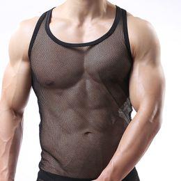 $enCountryForm.capitalKeyWord Canada - Man Tank Tops Male Sheer Fishnet Funny Singlet Gay Mesh See Inner Sleeveless Vest Undershirt