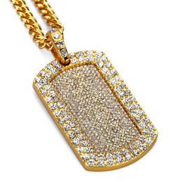 $enCountryForm.capitalKeyWord NZ - Full Diamond Dog Tag Pendant Necklace Luxury 18K Gold Plated Hip Hop Blingbling Iced Out Jewelry Paved Rhinestone Crystal Necklaces