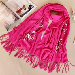 Chinese pashmina sCarves online shopping - Chinese style men s and women s cashmere scarf New Year s gift embroidery plum cashmere scarf Scarves