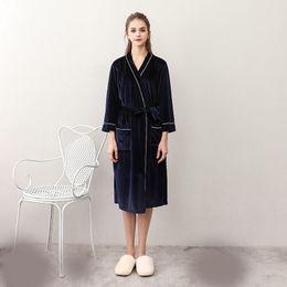 b4e9239ff7 2018 Lovers Women Men Autumn Coral Fleece Robe Kimono Bathrobe Nightgown  Velvet Robe Long Sleeve Sleepwear Night Gown