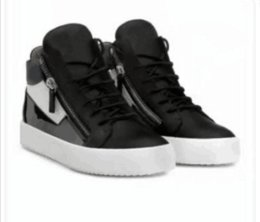 Metal Sneakers Australia - Luxury men casual shoes mens trainers brand new women sneakers with Metal decoration rivet Patent leather Double zipper high top 04