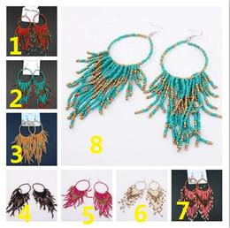 2018 heiße Übertreibung großer Kreis Mode Frauen Multilayer Quasten Ohrringe 8 Farbe Vintage Böhmen handgemachte Perlen Ohrringe im Angebot