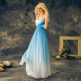 Wholesale gradient blue chiffon dress resale online - 2019 Blue Ombre Prom Dresses Sweetheart Chiffon Lace Up Back Long Floor Length Gradient Evening Party Dresses Graduation Gowns Custom Made