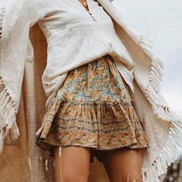 4cf7b3a363 Mini Boho skirt New Chic summer autumn Vinatge golden rayon floral print  a-line skirts Hippie Bohemian holiday beach wear short women skirts