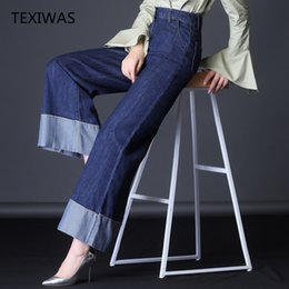 Women's Clothing 2019 Womens Patchwork Jeans Denim Pants Plaid Black High Waist Buttons Ankle Length Wide Leg Pants Casual Hot Sales B91335j