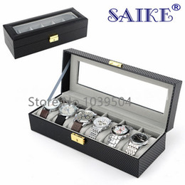 $enCountryForm.capitalKeyWord NZ - Free Shipping Carbon Fiber 6 Slots Watches Box With Key Black Leather Watch Display Brand Watch And Jewelry Storage Boxes W178