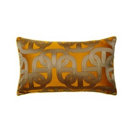 China Contemporary Soft Orange Chain Elipse Waist Pillow Case 30x50cm Home Living Deco Sofa Car Chair Lumbar Living Cushion Cover Sell by Piece suppliers