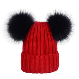 $enCountryForm.capitalKeyWord NZ - Red Woman Lady Fashional Hot Sale Knitted Beanies w black double real fox ball Crochet Skull Beanie Hat Ski Cap