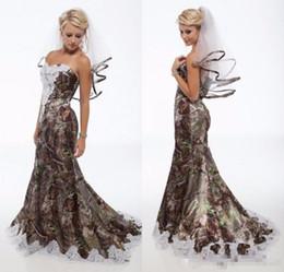 aa7b75c12b7e7 2018 New Arrival Camo Wedding Dresses White Appliques Lace Camouflage  Mermaid Bridal Dress Lace Up Vestido De Noiva
