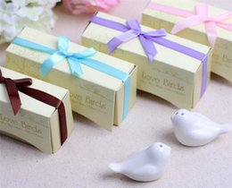 $enCountryForm.capitalKeyWord UK - 100pcs 2pcs=1set Ceramics Love Bird Salt And Pepper Shaker Wedding Gifts For Guests articulos de fiesta Weding Souvenir G245