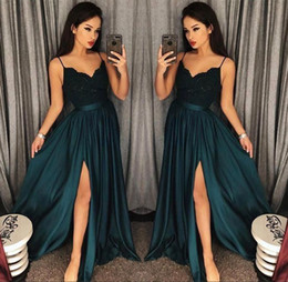 Spaghetti Side Slit lace online shopping - 2018 Evening Gowns A Line Blackish Green High Split Cutout Side Slit Lace Top Sexy Arabic Formal Party Prom Dresses