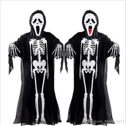 Skeleton Clothes Australia - New Hot Halloween Cosplay Skeleton Unisex Suit Human Skeleton Pattern Costume Halloween Scare Performance Clothes Wear Mask Suit Adults