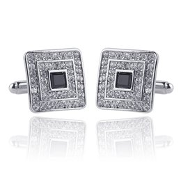 Luxury men gift online shopping - Classic Luxury Rhinestone Crystal Square Custom Enamel Men Cufflink Male French Shirt Cuff Links Wedding Jewelry pairs Christmas Gift