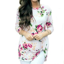plus size shirts tails NZ - Fashion T-shirts For Women Crop Top With Flower Print Woman T-Shirt O-Neck Casual Knotting Tail Plus Size Women Clothing Ladies Shirts