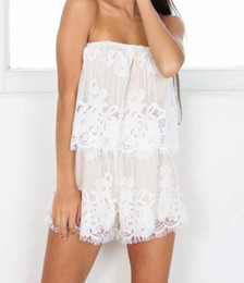 d7c94b7a732 Sexy jumpsuit romper Chic off shoulder white lace playsuit women high waist  Summer sleeveless backless party short overalls