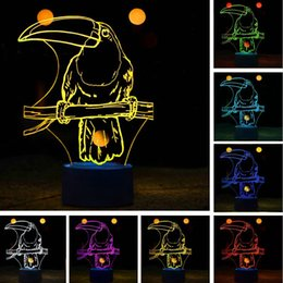 $enCountryForm.capitalKeyWord NZ - Novelty 3D Cartoon Ramphastos Toco Parrot Bird 7 Color LED USB Touch Night Light 7 Color Change Romantic Love Lamp Child Baby Sleeping Decor