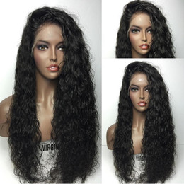 $enCountryForm.capitalKeyWord Australia - Pretty cheap sexy 100% unprocessed raw virgin remy human hair long natural color water wave full lace cap wig for women